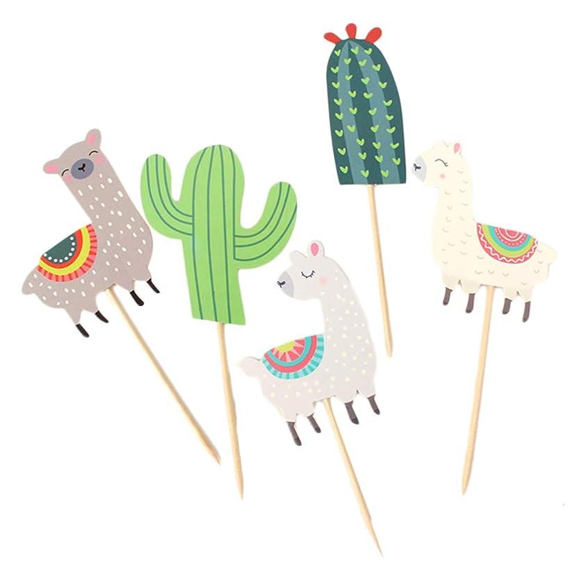 トンネル殉教者流Amosfun 15ピースサボテンアルパカケーキトッパー動物カップケーキトッパー誕生日パーティーケーキデコレーションケーキフルーツピックデザート装飾