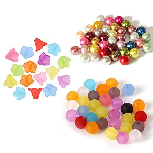Anyasen Perline Colorate 400Pezzi Colore Misto Perle per Bigiotteria Perline di Rotonda Assortiti Acrilico Opaco Perline Perline a forma di fiore Lavorazione Perline e Creazione Gioielli