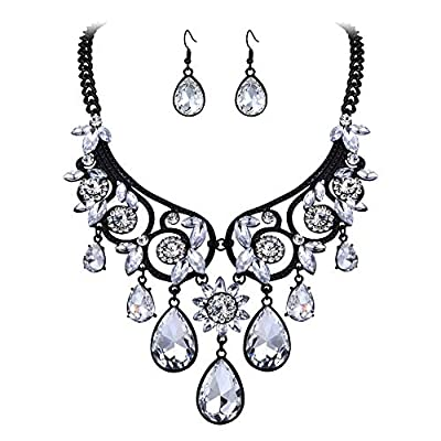 BriLove Women's Tribal Ethnic Crystal Chunky Statement Necklace Dangle Earrings Set Clear Black-Tone