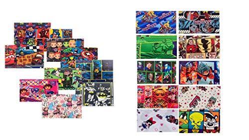 """Cartoon Fabric Cotton - Lycra 8"""" x 5"""" INCHES - Cartoons MIXES 20 PCS"""