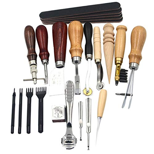 Souarts Verktygssats för läder med 19 delar, skickligt hantverk, verktygsset, skära, sy, karva, stansa hål, gör-det-själv, läderstans, läderbearbetning