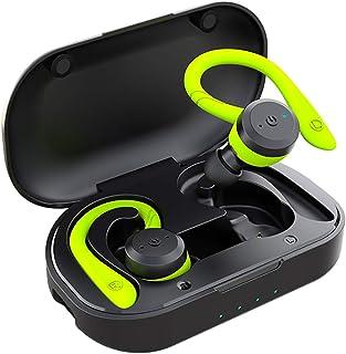 APEKX Cuffie Sportive Wireless, IPX7, Impermeabili, Suono Stereo, Microfono Integrato, con Custodia Magnetica Portatile per IOS, Andriod (Verde)