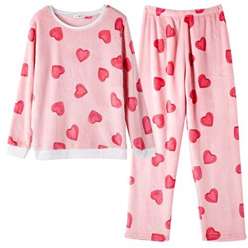 GOSO Pijama para niñas 8 9 10 11 12 13 14 años de Invierno cálido Pijama para niñas Adolescentes Tops y Pantalones Largos Big Girl Sleepwear