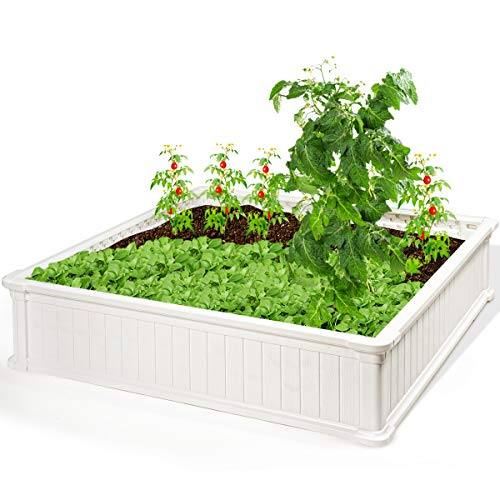 Giantex Raised Garden Bed, Planter for Flower Vegetables, Outdoor Plant Box Patio Backyard, Easy Assembly (48.5''Lx48.5''Wx12''H, White)