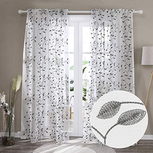 Deconovo Window Sheers Curtains for Kitchen Living Room Bedroom Set of 2 Drape Voile Embroidered Leaf Pattern Sheer Curtain Panel Pair- 2 Panels, Each 52x45 in, Grey