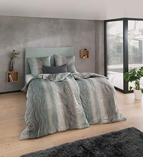 ESTELLA Mako Interlock Jersey Bettwäsche Amar aquamarin 1 Bettbezug 135x200 cm + 1 Kissenbezug 80x80 cm