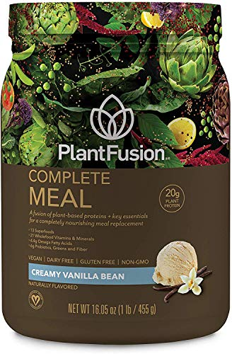 PlantFusion Complete Meal Plant Based Protein Powder, Gluten Free, Vegan, Non-GMO, Packing May Vary, Vanilla, 1 LB