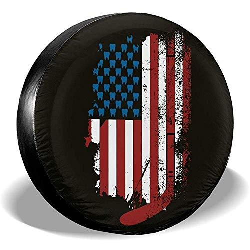 LYMT Hockeyschläger Zähne amerikanische Flagge Reserverad Abdeckung Universal Rad Reifen Abdeckung für Anhänger RV SUV LKW Reiseanhänger Zubehör