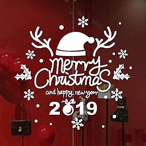 Anno nuovo Merry Christmas Wall Sticker Casa Negozio Decalcomanie Decor Adesivo da parete-Anno Nuovo Vetro Parete Pvc Preventivo Stickers Home La Decorazione Rifornimenti Domestici (bianco, 40 x 40cm)
