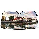 Oarencol Dublin Irland Ha Penny Bridge Sonnenuntergang Flusslandschaft Auto Windschutzscheibe Sonnenschutz Faltbar UV Ray Sonnenblende Schutz Sonnenschutz für Ihr Fahrzeug kühl (140 x 70 cm)
