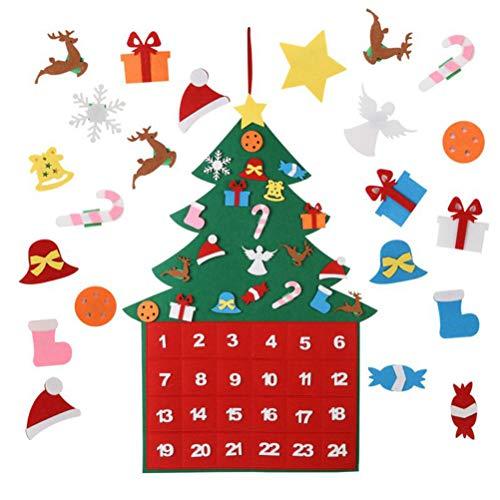 Countdown kerstboom adventskalender, vilt, kerstkalender met 24 DIY kerstversieringen, speciale adventskalender om te vullen met kinderen