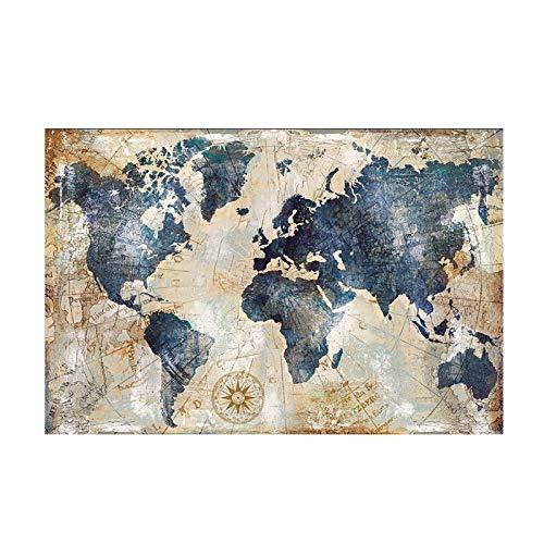 El tamaño grande Mapa del Mundo acuarela de la vendimia Pintura Poster del petróleo pintura y la pintura imprime cuadro de la pared Sala lona de la decoración (Size (Inch) : 80x120cm)