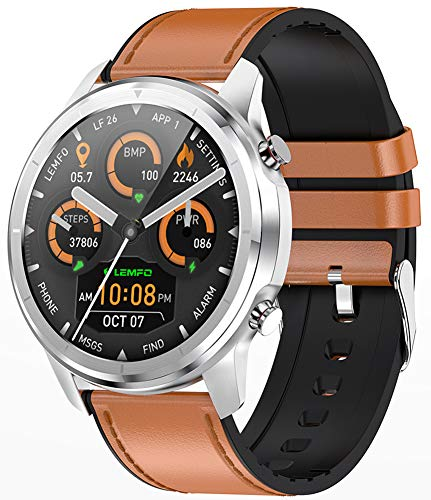 XWZ 1.3 Inch Full Touch 360 * 360 HD Amoled Screen Smart Watch Smart Bracelet Men Bluetooth 5.0 Weather Watch Face IP67 Waterproof Smartwatch Wristwatch,A