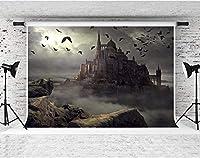 HD神秘的な城の背景7x5ftファンタジーコウモリ写真の背景ハロウィーンパーティーの装飾用品写真撮影小道具綿DSFS326