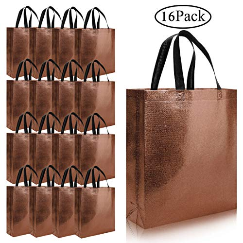 16pcs Glossy Reusable Grocery Shopping Bag, Non-woven Tote Bag with Handle, Stylish Foldable Present Bag Gift Bag, Larger Goodies Bag Promotional Bag for Birthday Party Wedding (Gold)