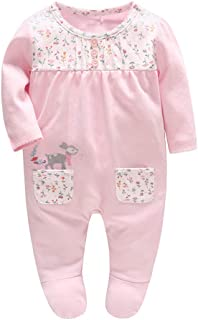 LOSORN ZPY Baby Girl Footed Pajamas Cotton Toddler Long Sleeve Sleeper  Romper for Toddler 5fac8c836