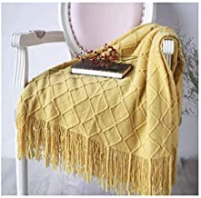 Knitted Fringed Throw Blanket Sofa Couch Blanket Soft Knitted Blanket for Snuggle on Sofa Watching TV Nap on Chair (Color ...