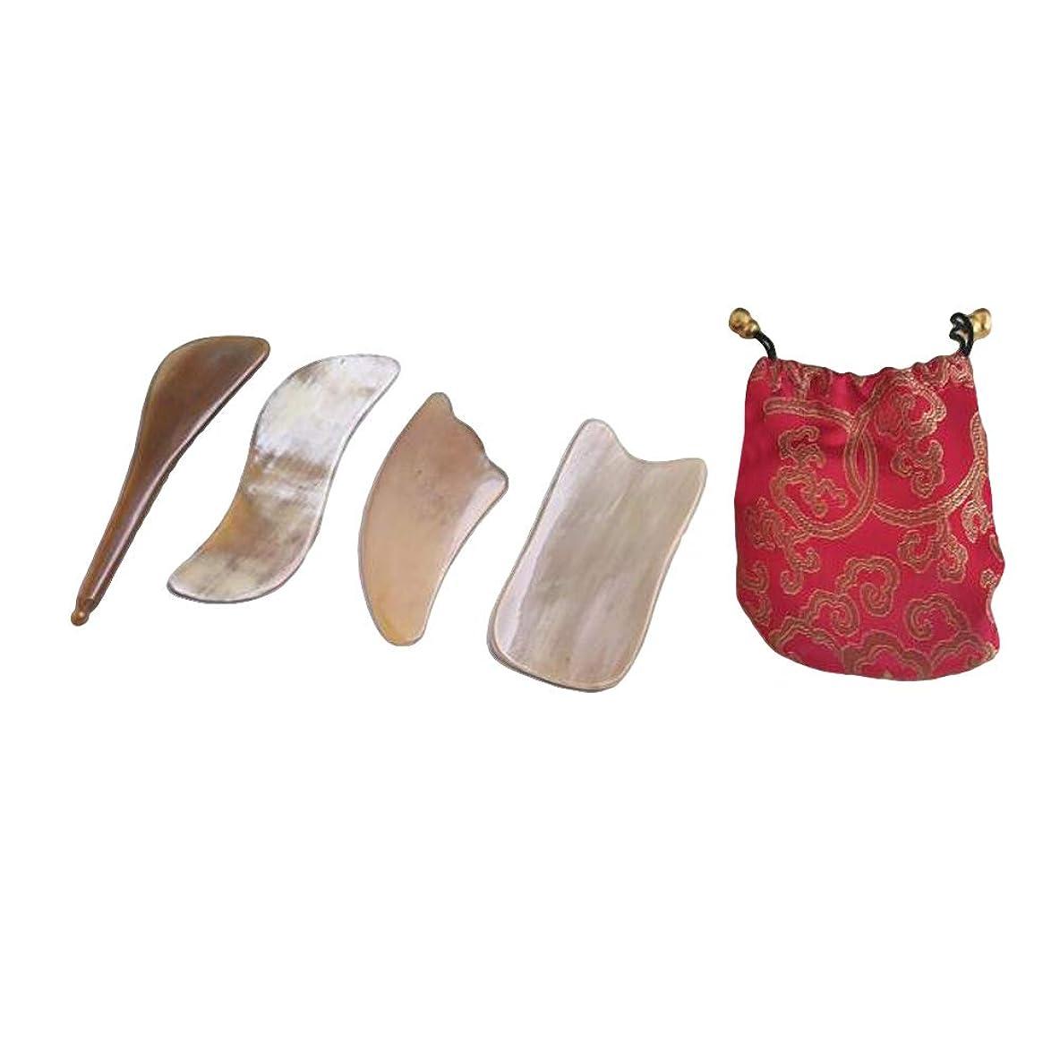 靄不毛引数SUPVOX 4本牛角ホアグアシャ削りマッサージツールフェイシャルグアシャボードでドローストリングバッグ用スパリラックス瞑想
