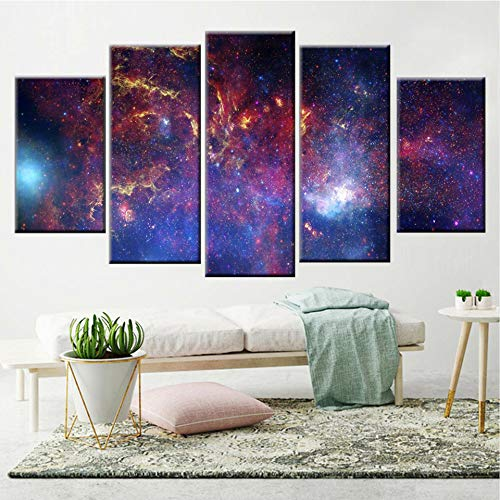 KWzEQ HD Panel Wandkunst abstrakte Farbe Stern komplette Galaxie Poster Leinwand Malerei Hauptdekoration,Rahmenlose Malerei,40x60cmx2, 40x80cmx2, 40x100cmx1