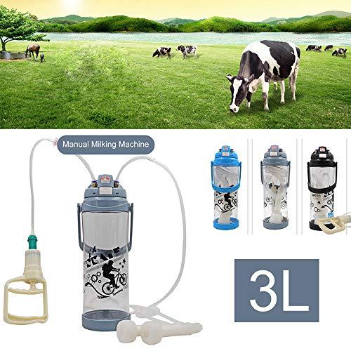 SONNIGPLUS 3L Ordeñadora Manual portátil, Ordeñadora con Botella, Suministros ganaderos,Pequeña máquina portátil de producción de Leche, para Cabras, ovejas y Vacas,Grey-Cow