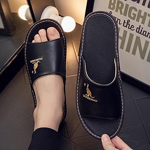 Zapatillas de Dibujos Animados,Zapatillas para hombres y verano Inicio Interior antideslizante antideslizante anti-suave de piel de vaca suave zapatillas de sandalia para mujer de verano-negro_40