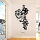 Tianpengyuanshuai Adhesivo de Pared Vinilo DIY decoración del hogar Motocicleta Jugador Pared calcomanía niños Deportes Motocicleta Sala de Estar -32x58cm