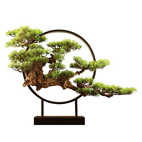 Árbol Bonsai Artificial Decoración del hogar Regalos Realista Faux Bonsai Tree con LED Luz China Zen Plantas de Interior Artificiales for la Sala de Estar de la Sala de Estar Decoración de la Oficina