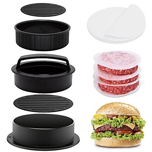 Burgerpresse, 3 in 1 Burger Pattie Presse Set mit 100 Blatt Antihaft Papier, XXL Hamburgerpresse mit Antihaftbeschichtung für Hamburger Maker, BBQ, Spülmaschinenfeste Burger...