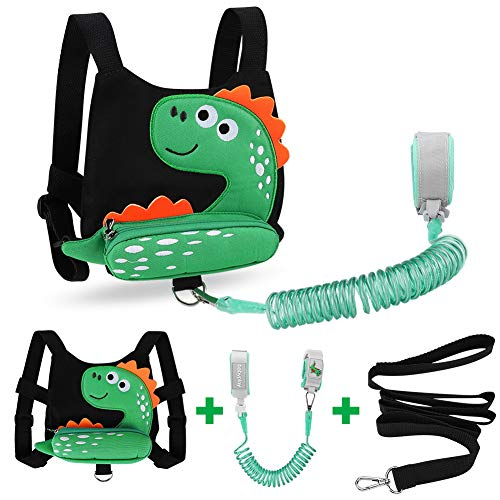 Toddler Harness Safety Leashes + Anti Lost Wrist Link, Accmor Dinosaur Harness Leash, Child Walking Wristband Assistant Strap Belt for Baby Boys (Black)