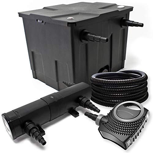 Filter Set aus Bio Teichfilter 12000l UVC Teichklärer mit 24W 80W Pumpe und 25m Schlauch
