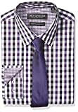 Nick Graham Men's Modern Fitted Multi Gingham Stretch Shirt with Solid tie, Purple, 16-16.5' Neck / 34-35' Sleeve
