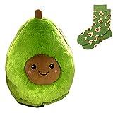 GIRISR Gefüllte Plüsch Avocado Und EIN Paar Socken Spielzeug Kissen Comfort Food Avocado Plüsch...
