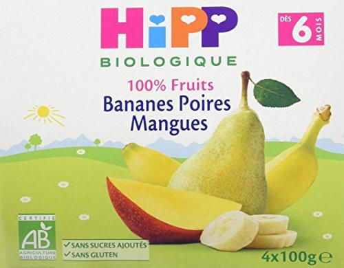 Hipp Biologique Bananes Poires Mangues 100% Fruits Dès 6 Mois - 6 packs de 4 coupelles de 100 g