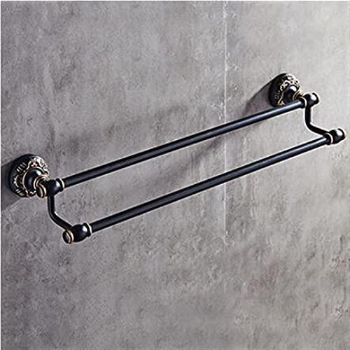 WZRY Asciugamani da Bagno per Montaggio a Parete, Accessori per Il Bagno Intagliato Nero e Oro Set di Alluminio Set Hardware Set di Asciugamani Set di ferramenta del Bagno (Color : Double Towel Bar)