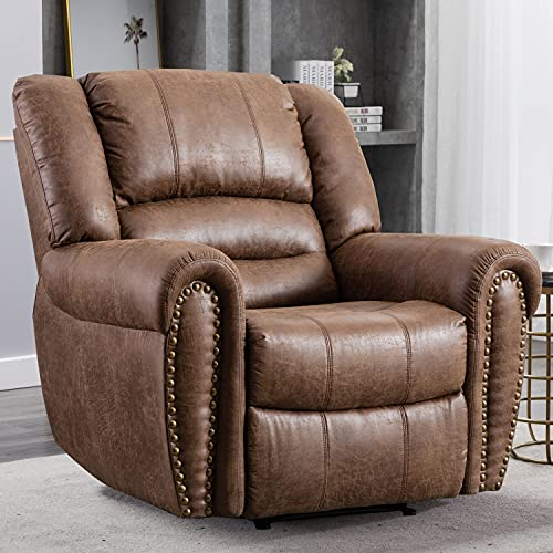 CANMOV Leather Recliner Chair, Classic and Traditional Manual Recliner Chair with Comfortable Arms and Back Single Sofa for Living Room, Durable Faux Leather, Nut Brown