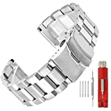 24mm Silver Brushed Wrist Bracelet Top Grain Stainless Steel Replacement Watch Band with Double Locks