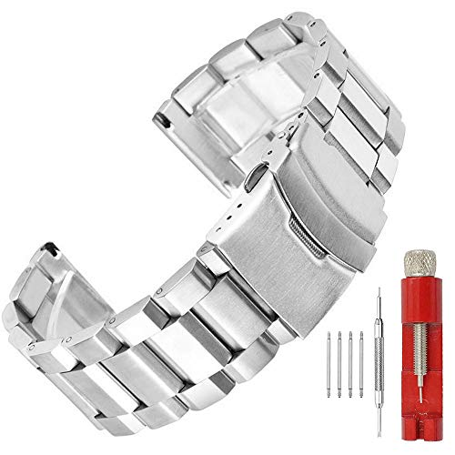 22mm Silver Brushed Wrist Band Stainless Steel Replacement Watch Band with Push Button Safety Buckle