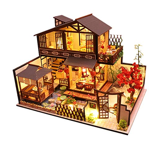Hellery Kit de casa de muñecas Miniatura DIY casa de muñecas de Madera Accesorios con Muebles Regalo de niña