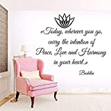 LSMYM Buda Proverbios Vinilo Adhesivo de pared Paz Amor Tatuajes de pared Flor de loto Arte de la pared Cartel Budismo Estilo Hogar Decora gris 65X57cm
