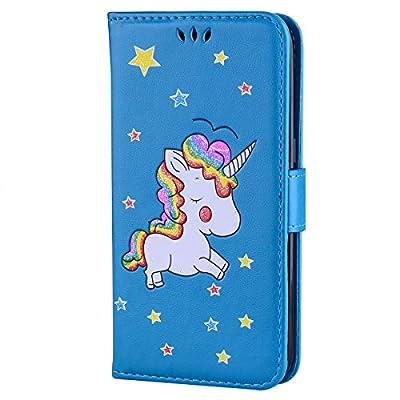 Ailisi Funda Samsung Galaxy S7 Edge, [Unicornio] PU Leather Carcasa, Anti-rayones Wallet Flip Case Cover con Cierre Magnético (Azul)