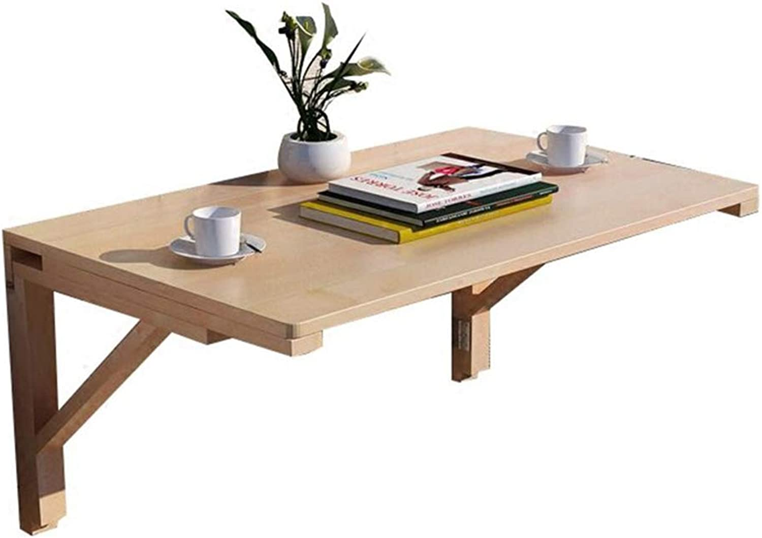 Coffee Table Solid Wood Folding Drop-Leaf Table, Wall-Mounted Computer Desk, Pine, Various Sizes (Size   50  30cm)