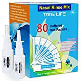 TONELIFE 80 Count Saline Nasal Care Refills +2 Nasal Sprayer - Nasal Salt 2.7g Each Pouch | Refill Kit | 80 Buffered Salt Packets | for 300ml 500ml Sinus Rinse Kit-Nose Cleaner-Nasal Wash Bottle