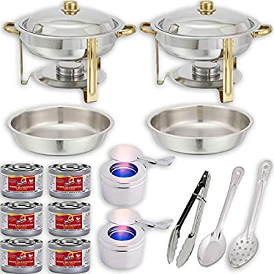 "Round Chafing Dish Buffet Set w/Fuel — Water Pans + Food Pans (4 qt) + Frames + Lids + Fuel Holders + 6 Fuel Cans + Serving Utensils (11"" Perforated Spoon + 11"" Solid Spoon + 9"" Tong) — 2 Full Warmer"