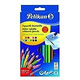Pelikan 700672 - Matite Colorate Acquarellabili con Pennello Incluso, 12 Colori Assortiti, Colore Solubile in Acqua, Fusto Esagonale, Certificato FSC