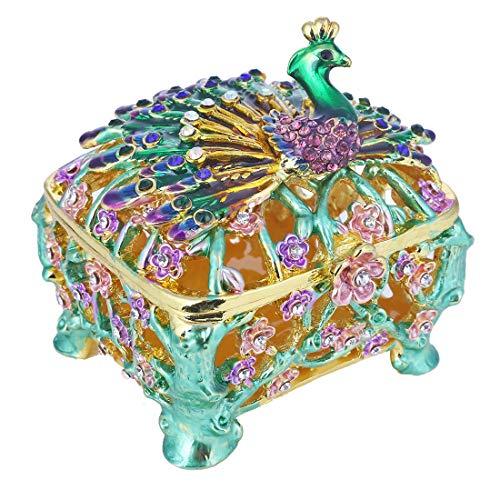 YU FENG Schmuckschatulle Metall emailliert Sammlerstück Hochzeit Schmuck Ring Halter Veranstalter (Pfau Box)