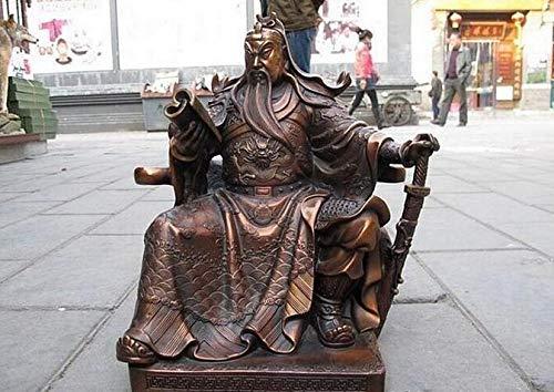 Hong Yi Fei-Shop Guan Yu Estatua Estatua de Cobre China Bronce Rojo Copos Sentado Guan Gong Lectura Libro Guan Yu Guerrero Estatua de Dios Feng Shui Decoracin