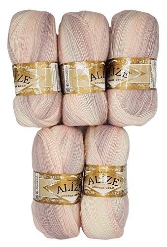 Alize 5 x 100 g Strickwolle Farbverlauf Flieder rosa weiß Nr. 6554 zum Stricken und Häkeln, 500 Gramm Wolle