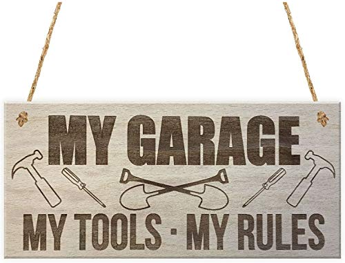 MAIYUAN My Garage My Tools My Rules Man Cave Shed Hanging Wood Plaque Signs 10x5(CYL755)