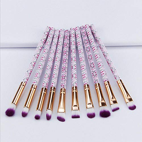 Llxhg 10 Pcs Eyeliner Maquillage Brosses Ensemble Femmes Maquillage Outils Sourcils Cosmétique Kit Bohême Style Brosse