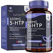 5htp 400 mg Végan - 8 mois d'approvisionnement - 240 comprimés végétaliens - 5-HTP Puissant extrait de Graines de Griffonia Naturelles - Fabriqué au Royaume-Uni par Nutravita